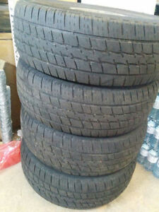 """Set of 17"""" steele rims with all season tires"""
