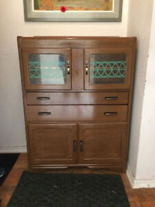 TODAY ONLY! 1920s Antique ART DECO Solid Walnut China Cabinet