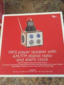 MP3 Player Speaker with AM/FM Digital Radio and Alarm Clock