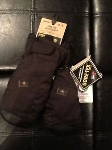 Burton Goretex leather snowboard mitts - TRUE BLACK colour