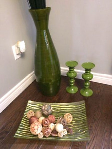 Decorative vase, candle holders and dish!