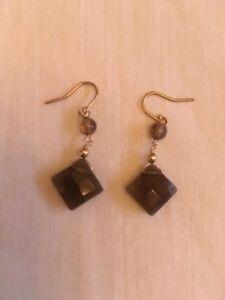 Boucles oreilles Topaze Brun & Or 14K Brown Topaz+Gold Earrings