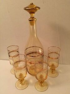 Yellow and Gold Bohemia Crystal Decanter Set with four glasses