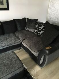 L shaped couch and foot stool