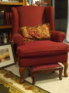 Burgundy Wingback chair with stool and pillow
