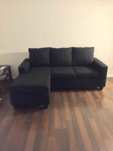 Brand New Reversible Sectional - Made in Canada- Black Fabric