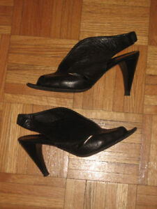 Women's open toe black heels size 9/9.5 or a small 10