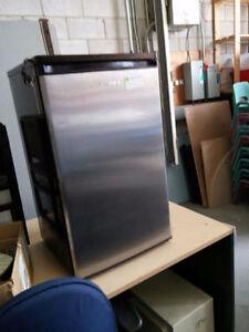 Black and Stainless Steel Mini fridge