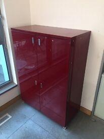 Habitat red lacquered four door cabinet