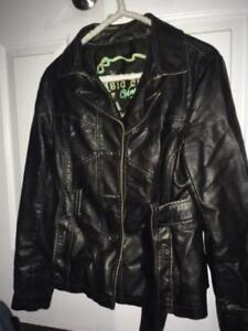 WOMENS SOFT FAUX LEATHER JACKET (CHOCOLATE BROWN)