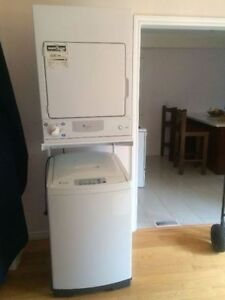Ge spacemaker 220v washer and dryer with stand for sale