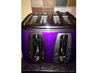 Russell Hobbs 19164 4 Slice Toaster - Purple ** Used But In Good Condition ** REDUCED