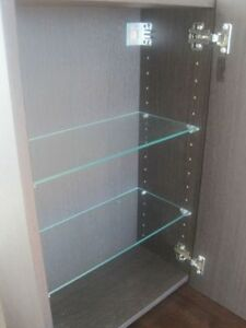 Chocolate-Brown Wood Mirrored Bathroom Cabinet with shelves St. John's Newfoundland image 2