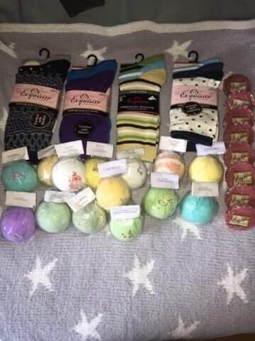 Bath bombs, ladies socks and yankee candle wax melts.
