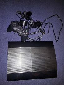 Sony PlayStation 3 Super slim 500 GB Jet black latest edition. Comes with two Dual shock 3 SIXAXIS