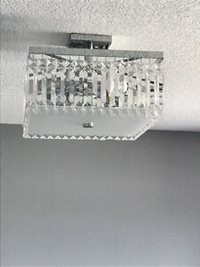 Semi Flush Mount Light with Crystals