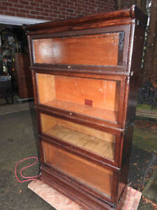 antique barrister bookcase 4 level, restored,original glass