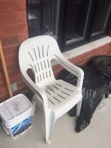 2 White Outdoor White Chairs **ONLY 0.25 CENTS**