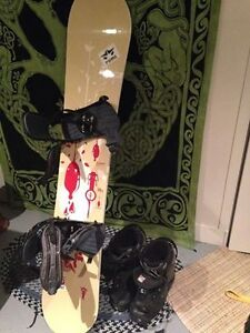 "Rome Solution 156"" Snowboard w/ bindings + Sz 13 mens boots"