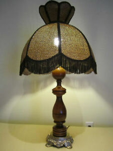 Vintage Wooden Table Lamp with Rattan Shade