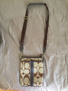 Coach beige and brown cross body bag