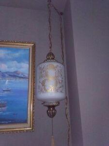 Antique! Marrakesh Glass & Brass Hanging Lamp