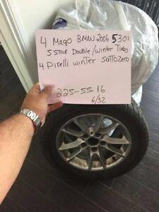 4 mags bmw serie 5 Avec Pneus hiver 225/55/16 Pirelli winter