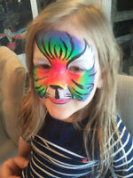 professional face painting, ballon twisting, glitter tattoos