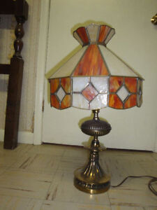 Bronze and stained glass table lamp