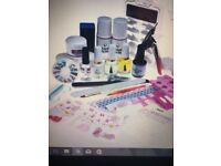 Glitter Nail Acrylic Powder Art Set Tips Kit Brush Nail File Primer Tool Kit