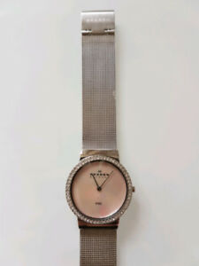 OR BEST OFFER Skagen Denmark crystal/Mother of Pearl mesh watch