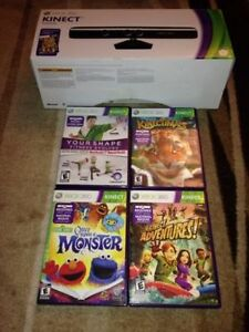 Xbox 360 Kinect in Box with all cable stand and 4 games