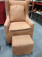 Fauteuil/Chaise & Poof Antique-Chair with Footrest/Repose Pieds