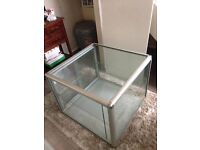 Large Glass Cube Shop Display cabinets with 2 shelves and 2 sliding doors
