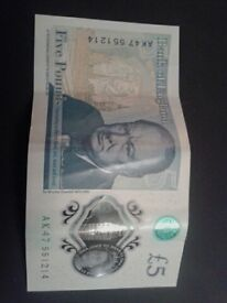 AK47 and AK46 new clean 5 pound notes