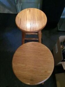 2 solid wood barstools for sale