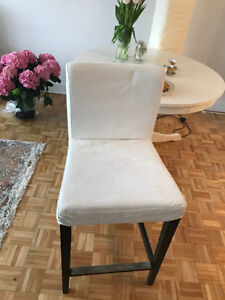 two Ikea Bar stool with backrest, brown-black, Gräsbo white