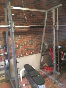 Maximum Force Commercial Smith Machine + Adjust Bench + Weights
