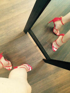 NEW RED STRAPY  HEELS 8.5