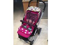 Mamas & Papas sola Puschair and Carrycot - Plum petal + Adaptors (to) and Maxi Cosi car seat