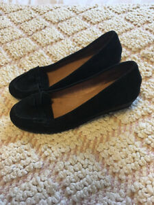 ALDO Black Suede Leather Penny Loafers - Size 9 - Lightly Worn