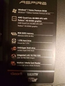 Acer Aspire A8-3800 CPU, 1.5 TB HDD, 8GB, USB 3.0, HDMI $290obo