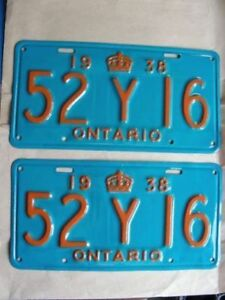 1938 Ontario License Plates, Re-Furbished! Very Nice!