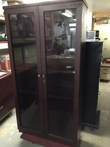 Bookcase with Glass Doors 6' Tall, cherry colour.