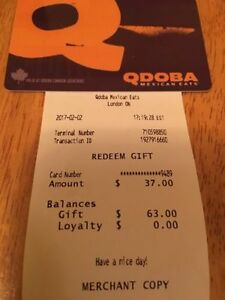 Qdoba food gift card (Mexican Food)   card has $63 on it.