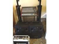 Complete PA System, console, monitors, stands, mic and leads in flightcase