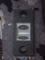 "Empty Subwoofer Box, 2 x 8"" inch, mount inside, ports, terminals"