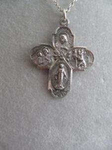 BEAUTIFUL OLD VINTAGE ROMAN CATHOLIC STERLING SILVER NECKLACE