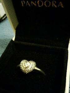 "Authentic Pandora "" In my Heart"" Sterling Silver Ring"