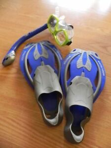 Dive fins and snorkel package